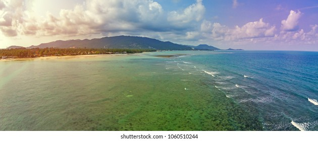Aerial view of emerald tropical sea and beach, Ko Samui, Thailand