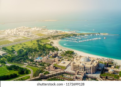 Aerial view Emirates Palace Hotel and the Presidential Palace in Abu Dhabi, UAE