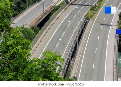 Aerial view of a empty freeway in Austria