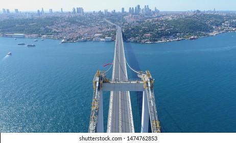 Aerial view of Empty Istanbul Bosphorus Bridge. Istanbul City Landscape. 4K Drone Footage in Turkey.