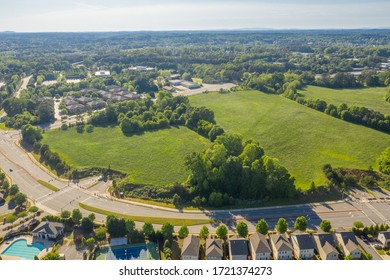 Aerial view empty lots ready for new developments in Atlanta Georgia