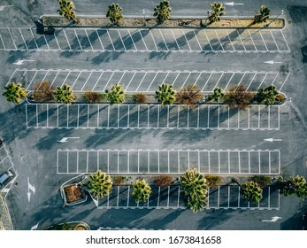 Aerial view of empty parking lots in Italy. Drone photography.