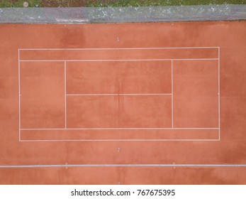 Aerial view of empty tennis court
