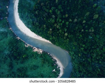 Aerial view of  Endau river at Kg Peta, Endau-Rompin Peta National Park