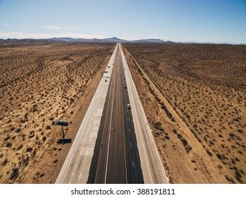 Aerial view of Endless road through desert park in California