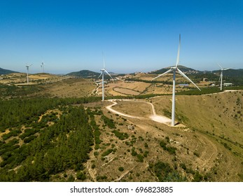 Aerial View Of Energy Producing Wind Turbines, Portugal