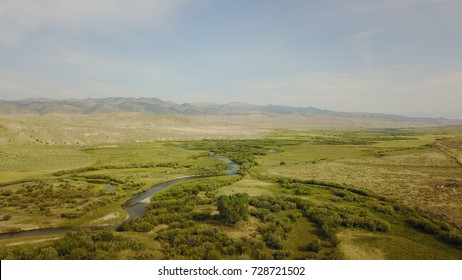 Aerial view of Ennis region, Montana USA