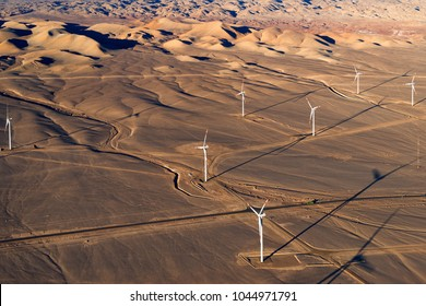 Aerial view of an Eolic park in the Atacama Desert outside the city of Calama, Chile