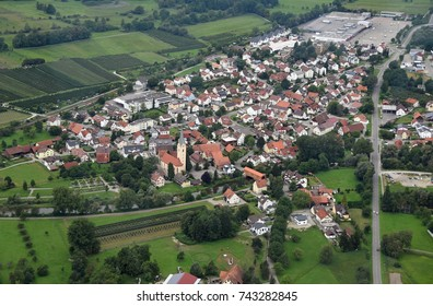 Aerial view of Eriskirch on Lake Constance, Germany