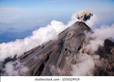 Aerial view of erupting Fuego Volcano in Guatemala.