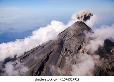 Aerial view of erupting Fuego Volcano in Guatemala.