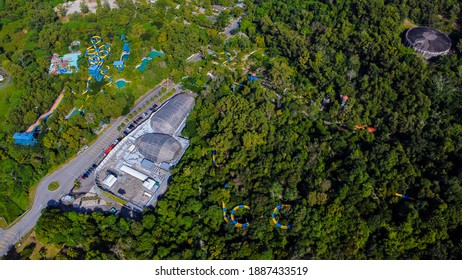 Aerial view of a ESCAPE theme park and Entopia building in Teluk Bahang, Penang