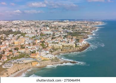 Aerial view of Estoril coastline near Lisbon in Portugal