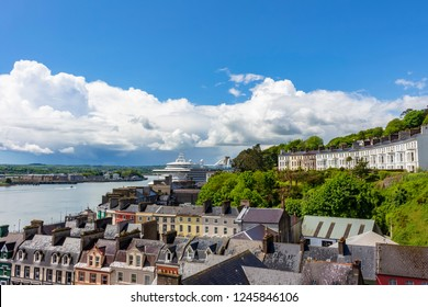 Aerial view of the estuary of the river Lee, from the city of Cobh, where transanlantics run