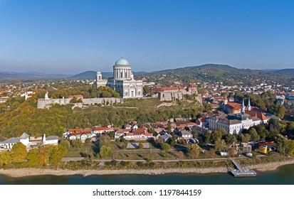 Aerial view of the Esztergom Basilica in Esztergom, Hungary