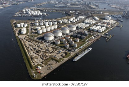 Aerial view of the Eurotank terminal with lots of white oil storage tanks in the harbour of Amsterdam.
