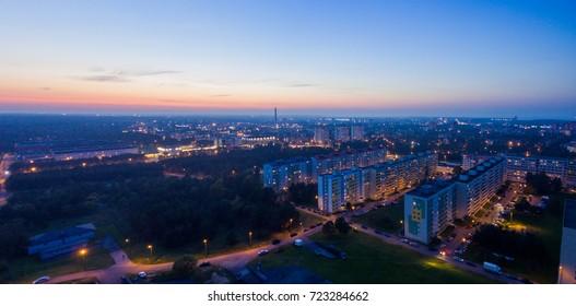 Aerial view Evening of City Tallinn Estonia , District mustamae