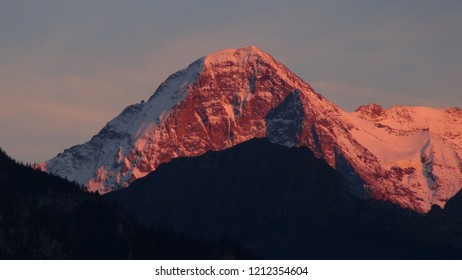 aerial view in evening light at the famous mountain Eiger in CH Switzerland. at Interlaken