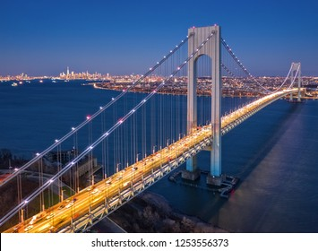 Aerial view of the evening rush hour traffic on Verrazzano Narrows Bridge, as viewed from Staten Island, NY