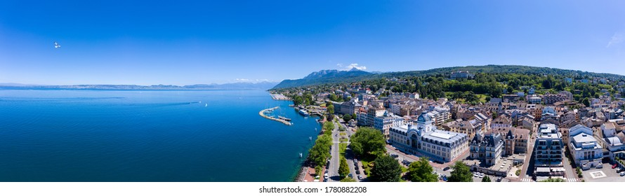 Aerial view of Evian (Evian-Les-Bains) city in Haute-Savoie in France - Shutterstock ID 1780882208