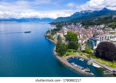 Aerial view of Evian (Evian-Les-Bains) city in Haute-Savoie in France - Shutterstock ID 1780882217