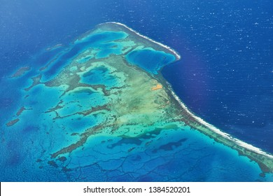 Aerial view of an exotic coral reef, a popular night or mooring spot for Red Sea diving near El Gouna and Hurghada in Egypt.