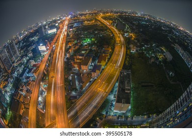 Aerial view of the express way over Bangkok city scene with city light