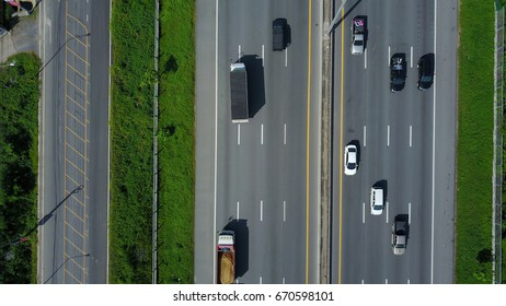 Aerial view of expressway  across countryside