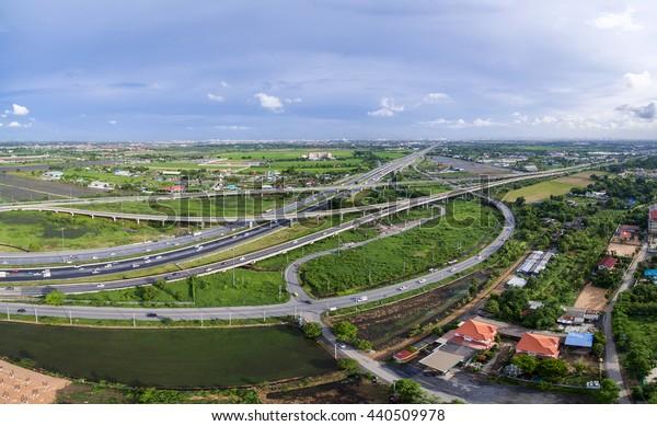 Aerial view of expressway in bangkok city thailand, expressway, tollway, highway, motorway road