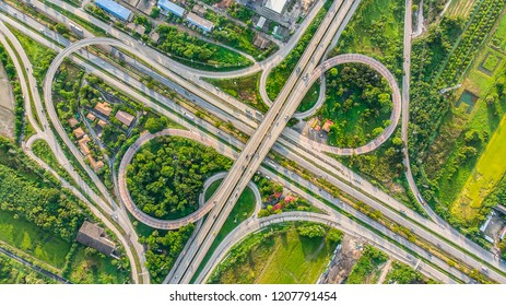 Aerial view Expressway motorway highway circus intersection at Day time Top view , Bangkok, Thailand.