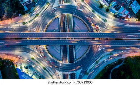 Aerial view  Expressway motorway highway circus intersection