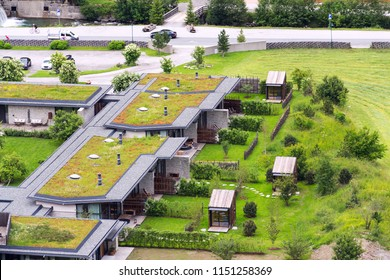 Aerial view of extensive green living sod roofs with vegetation