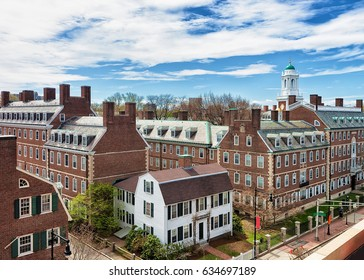Aerial view of F Kennedy Street in the Harvard University Area in Cambridge, MA, USA