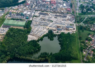 aerial view of a factory at Compiègnes in the department of Oise in France