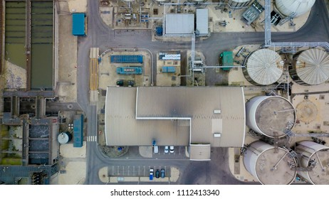 Aerial view of factory and silos, UK