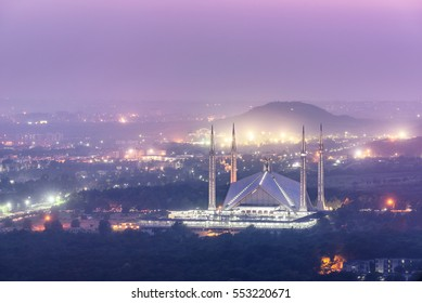 Aerial view of Faisal Mosque from Margalla hiss in Islamabad  Pakistan