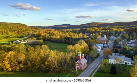 Aerial view of Fall colors in Chester VT.