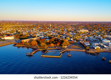Aerial View Fall Colors Delaware River Gloucester New Jersey