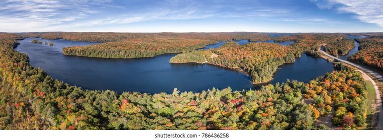 Aerial View Fall Lake Road Drive