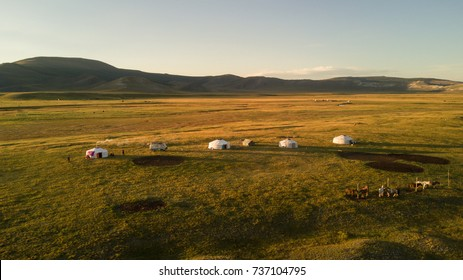 Aerial view of family gers in late afternoon sun. Khuvsgol, Mongolia.