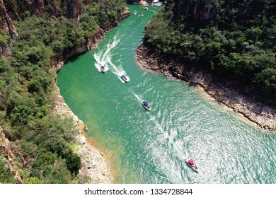 Aerial view of famous Canyons of Capitolio's lagoon. Capitolio, Minas Gerais, Brazil. Beauty landscape. Furnas's dam. Tropical travel. Travel destination. Vacation travel.