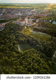 Aerial view of the famous castle Castillo de la Mota and Medina del Campo at dusk, Valladolid.