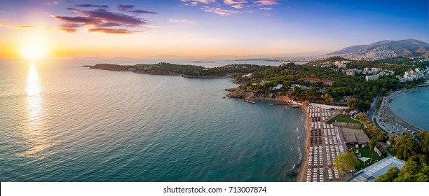Aerial view of the famous celebrity beach Astir in south Athens, Vouliagmeni, during sunset, Greece