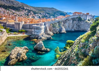 Aerial view at famous european travel destination in Croatia, Dubrovnik old town. / Selective focus.