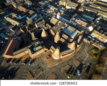Aerial view of the famous Gladstone Pottery Museum bottle kilns formerly used in manufacturing in the city Stoke on Trent, Staffordshire, industrial decline, poverty and cultural demise