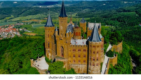 Aerial view of famous Hohenzollern Castle, Germany. Photo taken with Drone