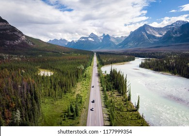 Aerial view of the famous Icefields Parkway road between Banff and Jasper National Parks in Alberta, Canada.