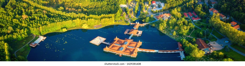 Aerial view of the famous Lake Heviz in Hungary, and the largest thermal lake in the world available to bath. Outdoor travel background, large panorama