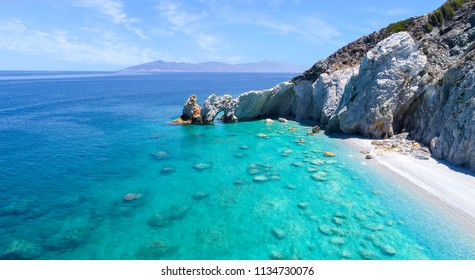 Aerial view of the famous Lalaria beach in Skiathos, Greece