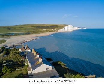 Aerial view of the famous landscape, Seven Sisters Cliffs with Coastguard Cottages at West Sussex, United Kingdom